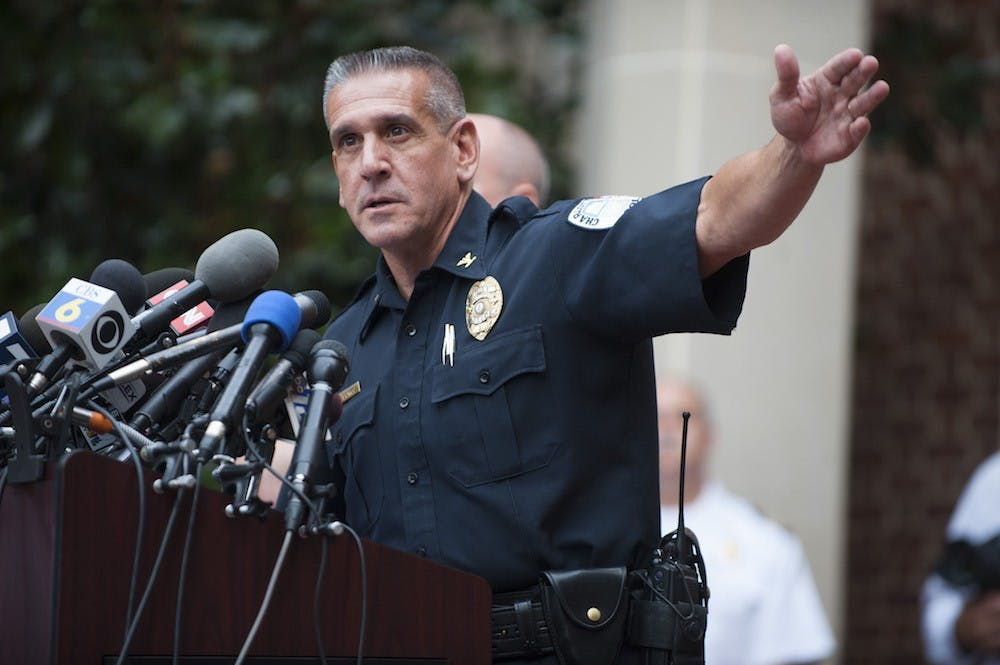 <p>Police Chief Timothy Longo implored Charlottesville residents and business owners to come forward with any information about a person of interest, described as a 6'2 black male, who is age 32, has dreadlocks and weighs an estimated 270 pounds.</p>