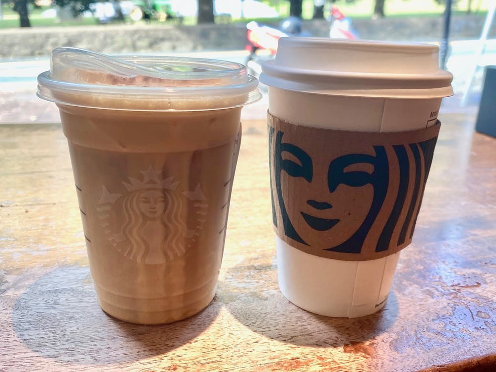 The Pumpkin Spice Latte is a hot beverage and therefore came in an insulated cup. The Pumpkin Cream Cold Brew came in the clear cold cup and with the new straw-saving lid.