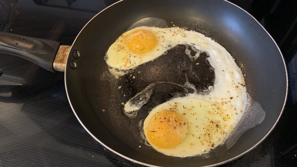 Eggs are the main protein source for this breakfast dish.