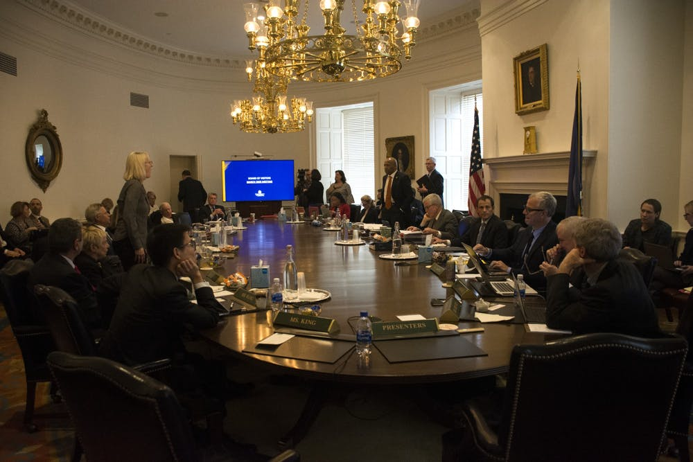 <p>The Board approved four new professorships — the Robert M. White Jr. Bicentennial Professorship in Real Estate Finance, the Batten Bicentennial Professorships in Early Childhood Education and the Philip J. Gibson Professorship in the Curry School of Education.</p>