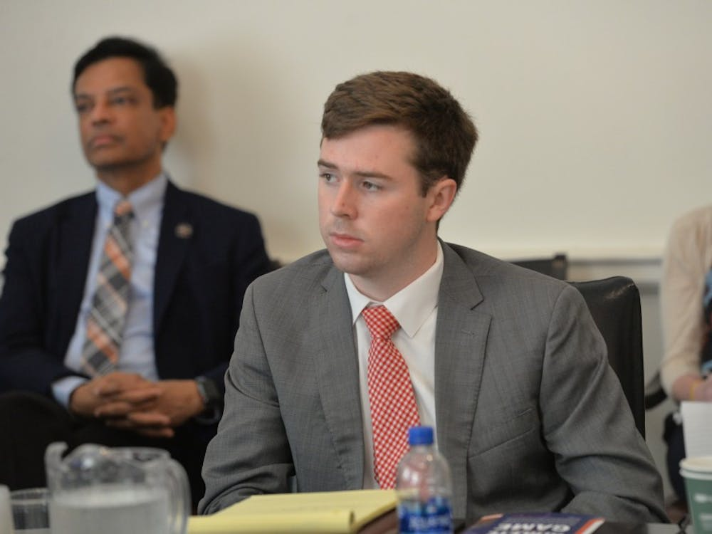 The Dec. 7 session also featured remarks from Brendan Nigro, a fourth-year College student and the student member of the University's Board of Visitors. Nigro was elected to the board this past March and is pictured above at his first meeting as student member in June.