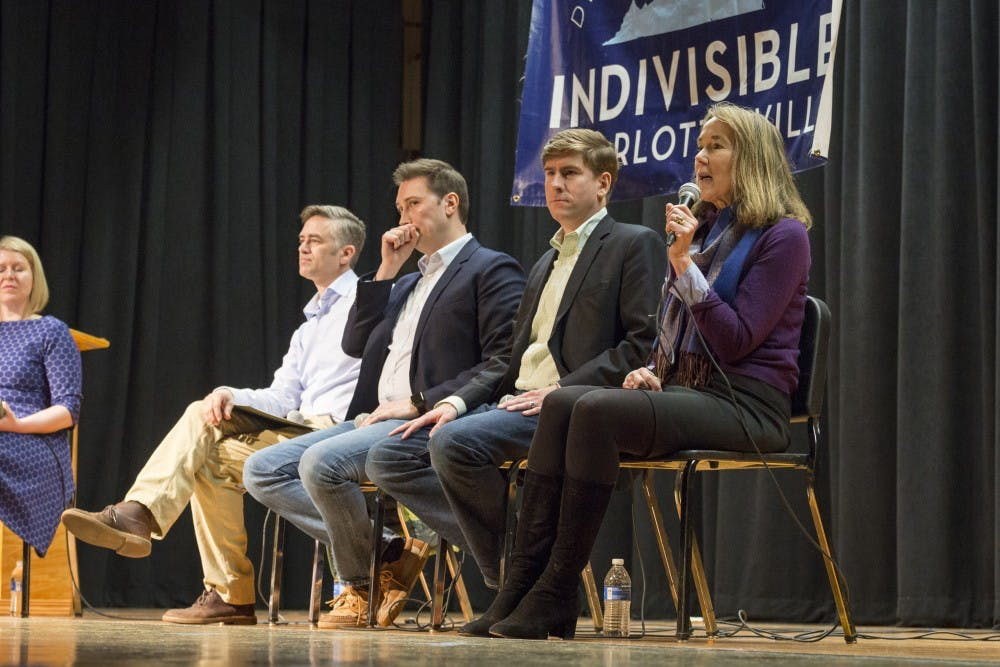 <p>From left, candidates Andrew Sneathern, Roger Dean Huffstetler, Ben Cullop and Leslie Cockburn discussed issues ranging from healthcare to gun policy to higher education.</p>