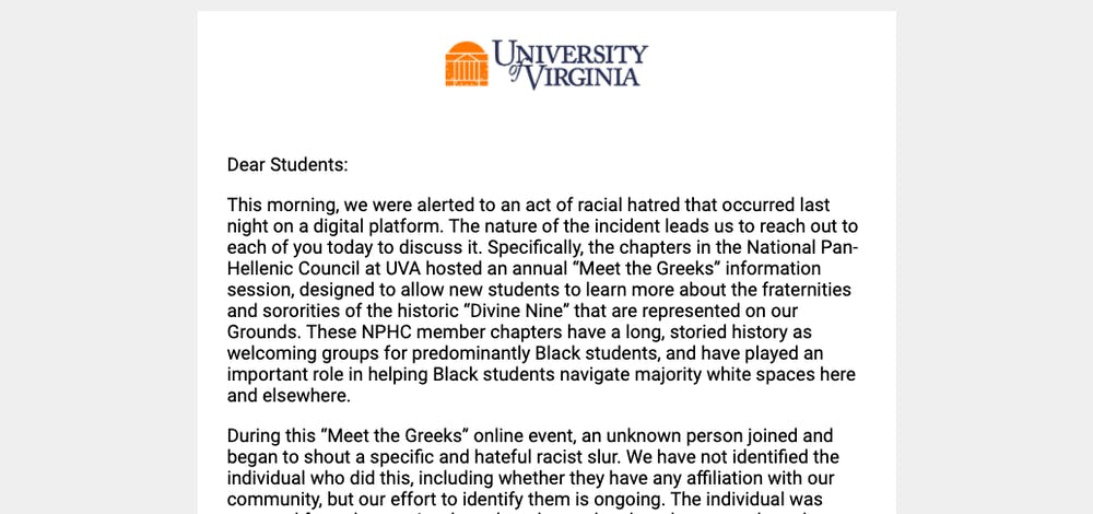 """In their email condemning the incident, Groves, McDonald and Apprey said that the University's NPHC chapters are """"no strangers to being targeted by racist hatred."""""""