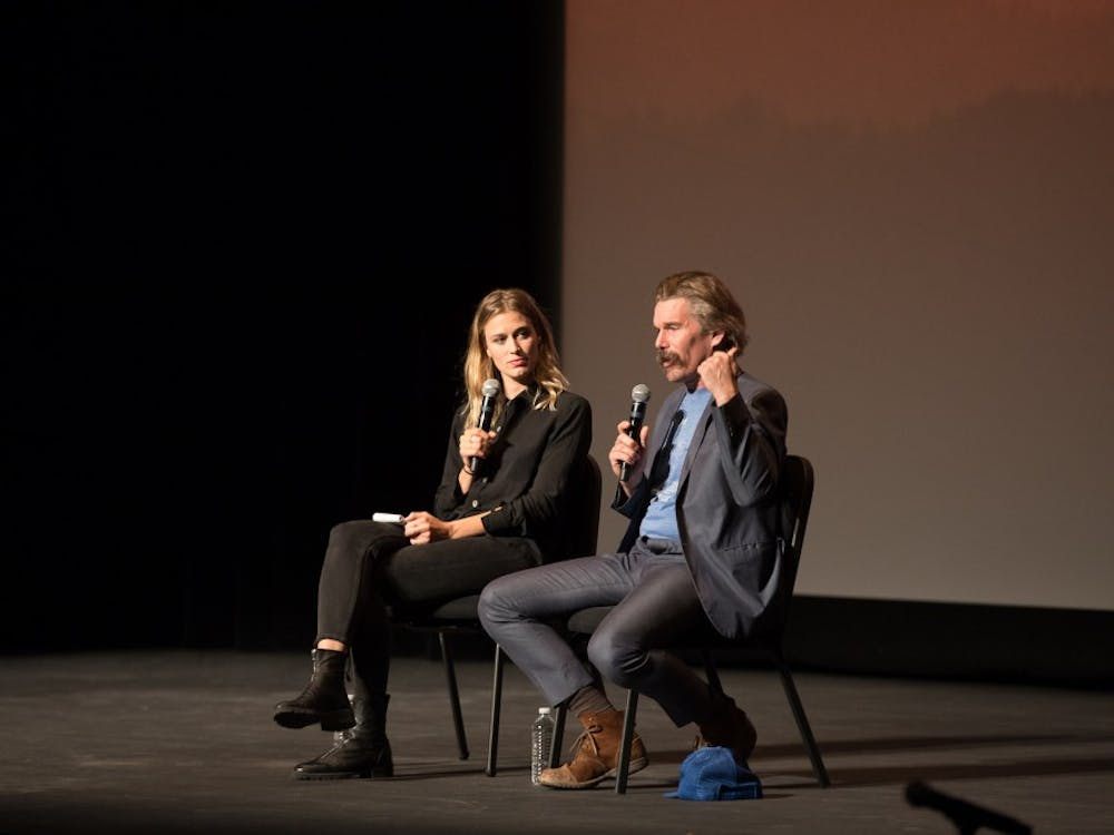 Actor, director and writer Ethan Hawke spoke on Saturday at The Paramount in a conversation moderated by Elizabeth Flock of PBS NewsHour.