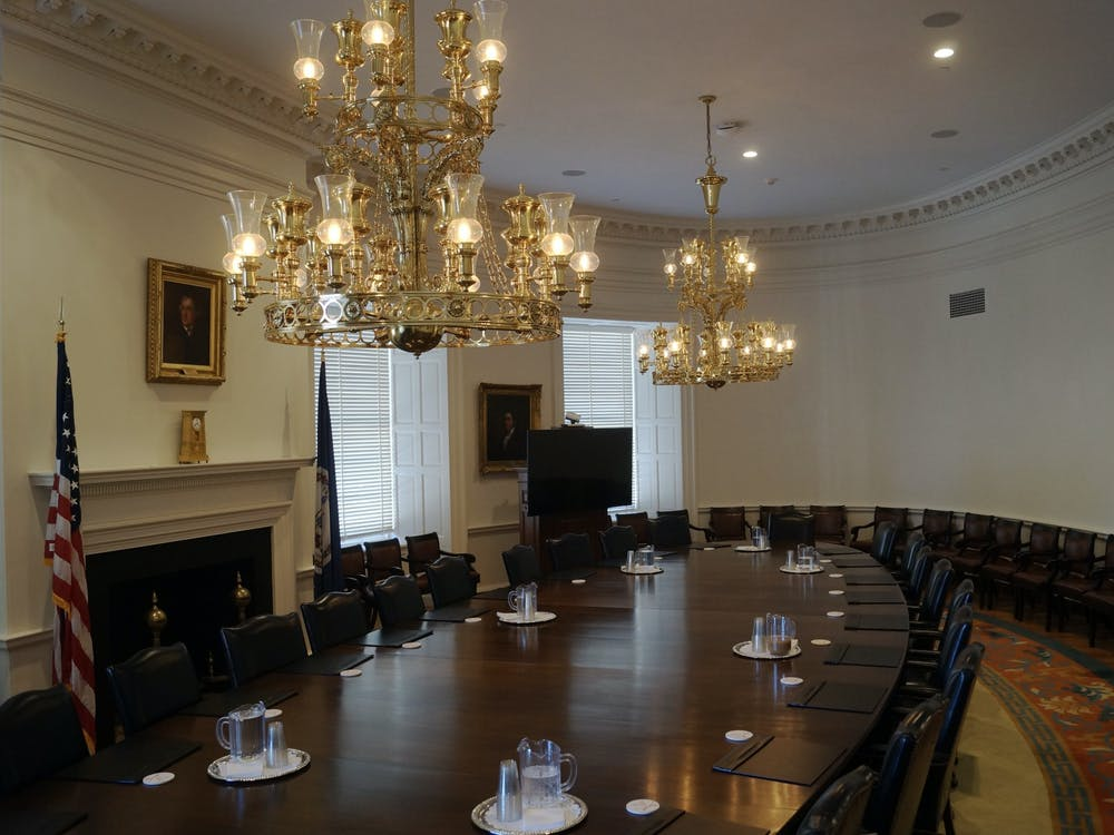 The meeting was available to the public through a live stream and was held in-person in the Board Room of the Rotunda.