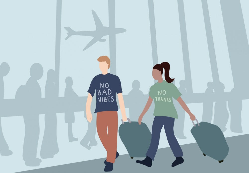 <p>Next time you find yourself getting dressed to leave for the airport, I urge you to consider embracing a slogan t-shirt — they just might make someone awkwardly laugh or warmly relate.&nbsp;</p>