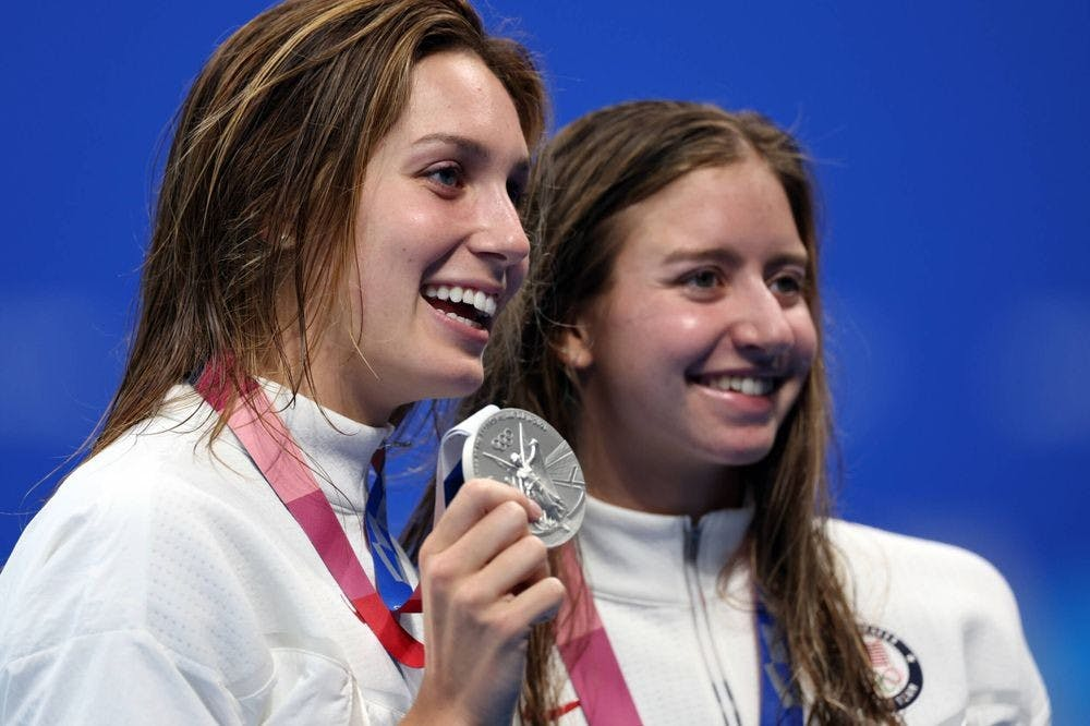 <p>Rising sophomore Alex Walsh (left) and rising junior Kate Douglass (right) won the silver and bronze, respectively, in the 200-meter individual medley.&nbsp;</p>