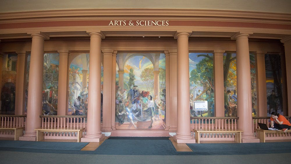 """The multi-paneled mural, called """"TheStudents' Progress,"""" was commissioned by a group of University benefactors in 1996."""