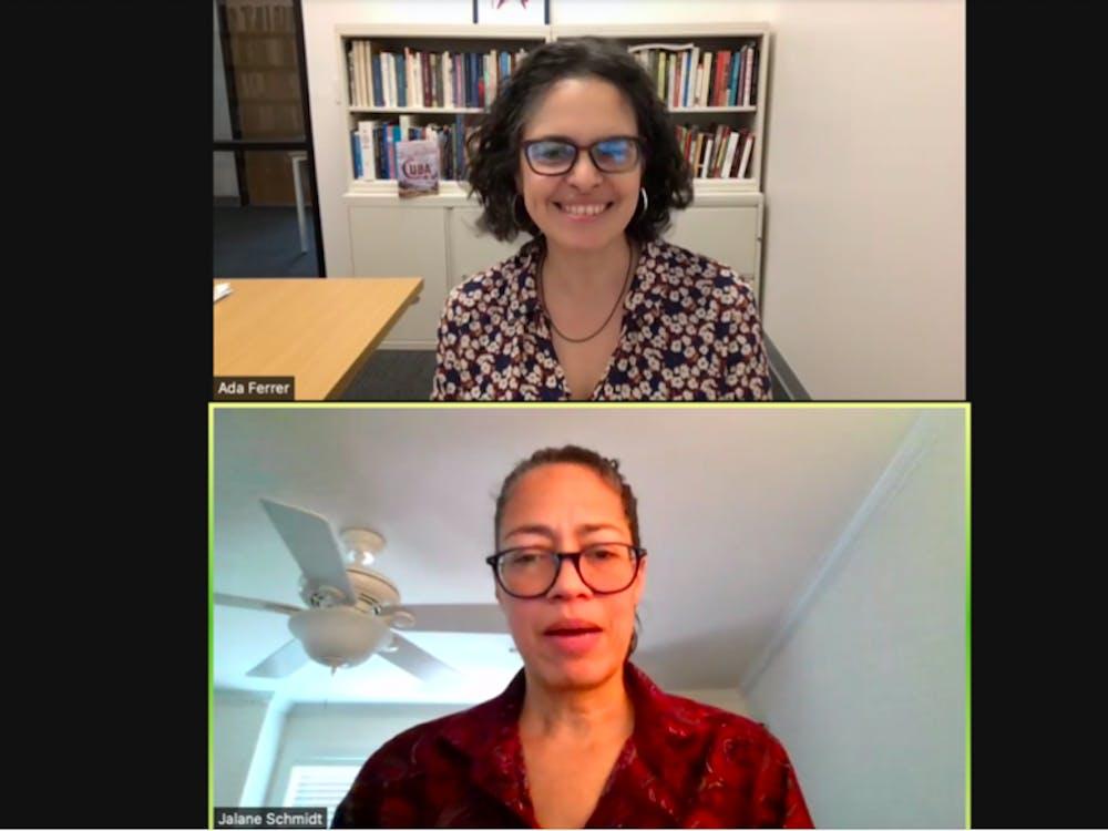 NYU Professor Ada Ferrer and Jalane Schmidt, religious studies professor at the University, discuss democracy and colonialism in Democracy Initiative event.
