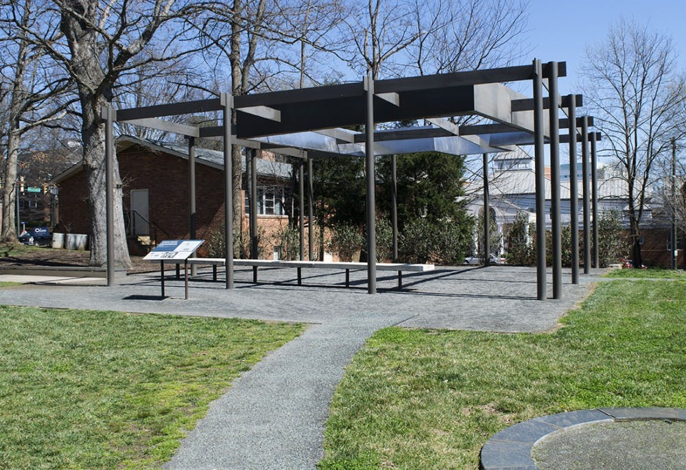 <p>Foster's house was torn down in 2009 during construction for the University South Lawn Project. It was honored by an outdoor metal structure &mdash; which casts a shadow representative of her home &mdash; and a gravesite nearby.</p>