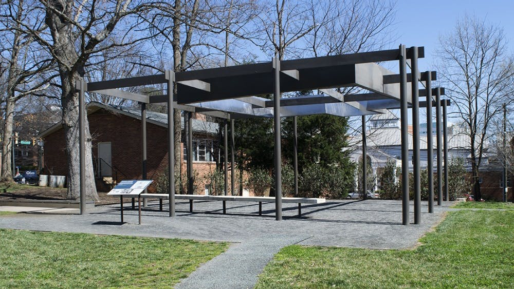 Foster's house was torn down in 2009 during construction for the University South Lawn Project. It was honored by an outdoor metal structure — which casts a shadow representative of her home — and a gravesite nearby.