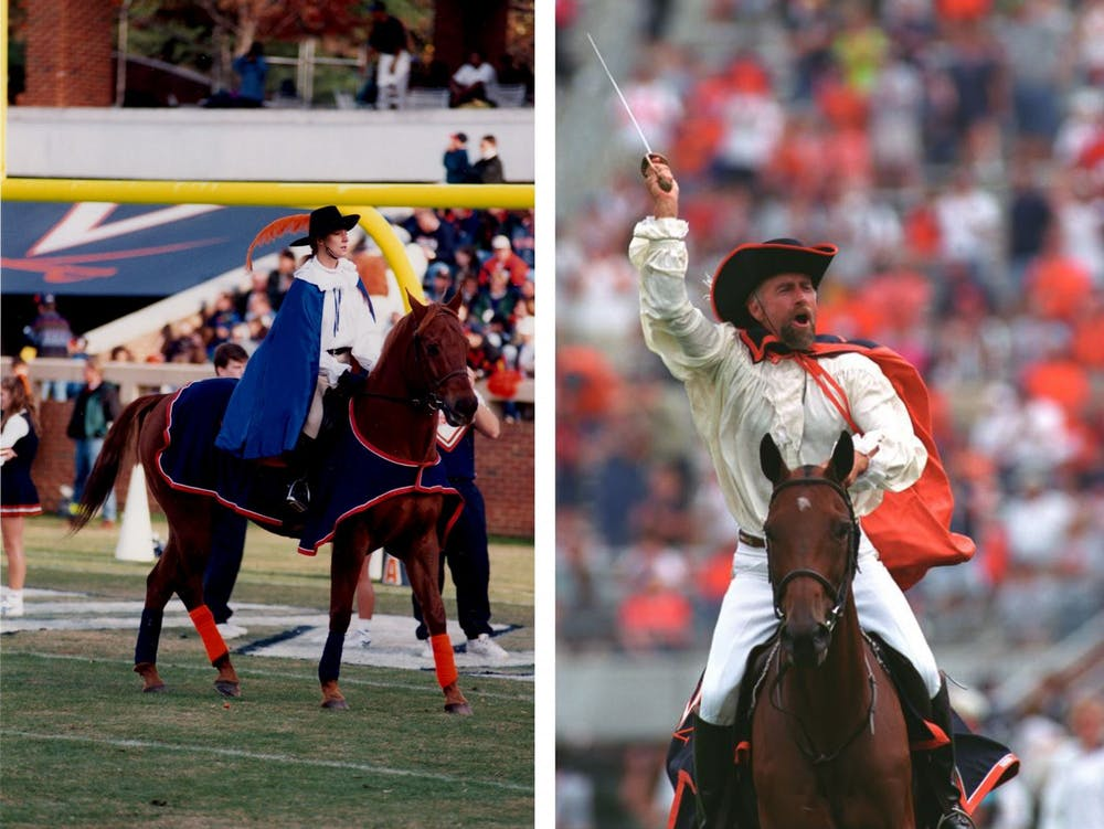 <p>Pictured on the left is the Lady Cavalier in 1996. On the right is Kim Kirschnick as the Cavalier in 2003.</p>
