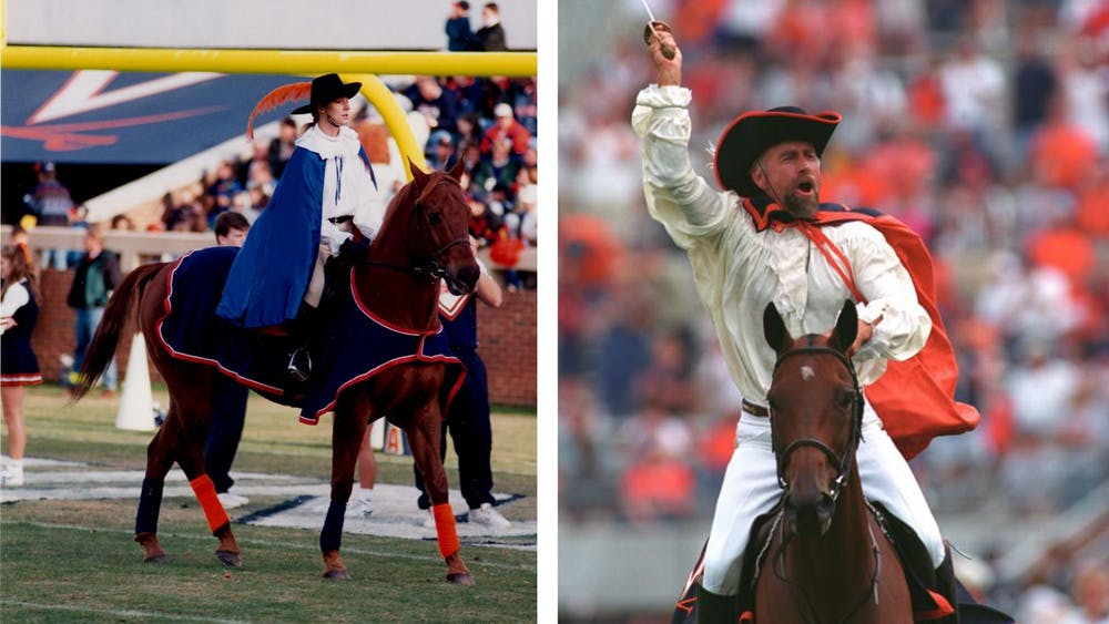 Pictured on the left is the Lady Cavalier in 1996. On the right is Kim Kirschnick as the Cavalier in 2003.