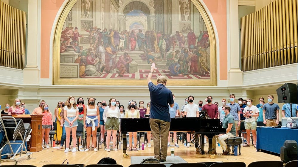 Students and their families can head to Old Cabell Hall at 8 p.m. on Friday evening to hear several University ensembles, including University Singers, and a cappella groups sing their hearts out.