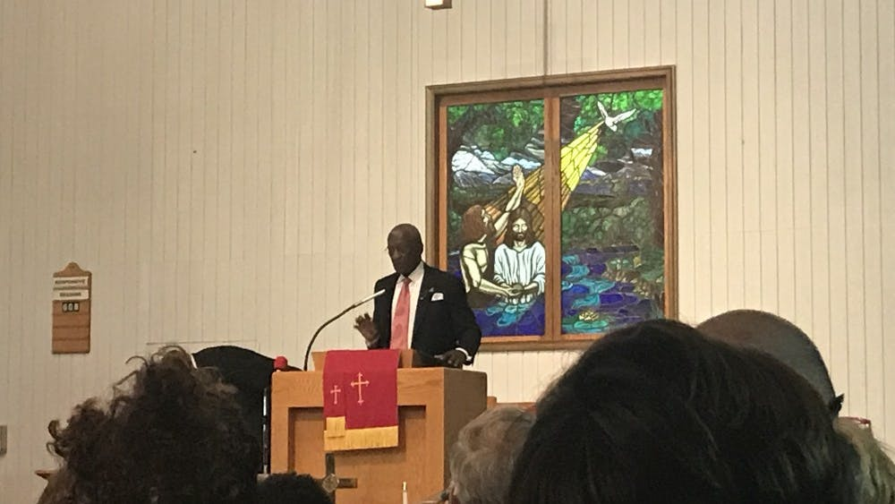 Past-president for the Albemarle-Charlottesville NAACP M. Rick Turner addresses the crowd on directly confronting the problems of racism and injustice.