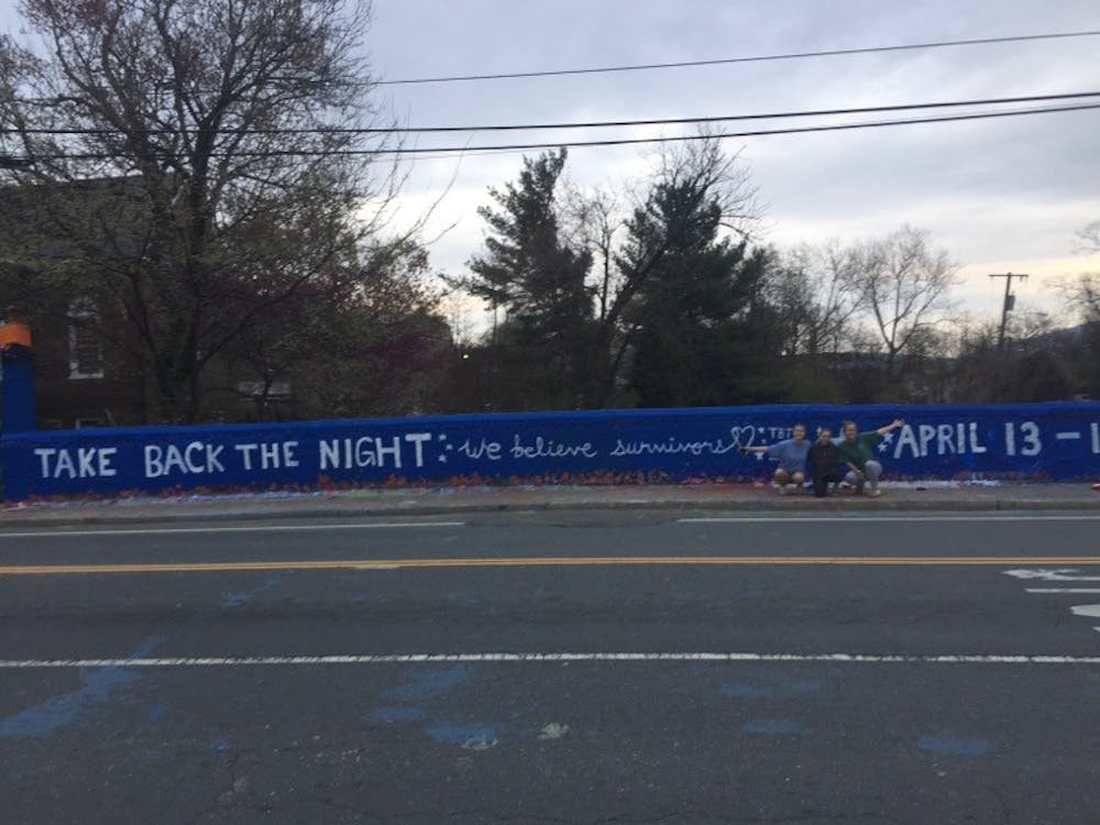 Take Back the Night at U.Va. had painted Beta Bridge last weekend to promote the events for the month.