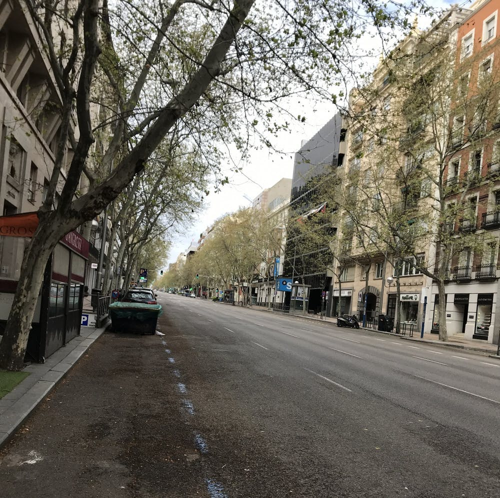 <p>Madrid residents are not allowed outside except to go to grocery stores, pharmacies or work in limited cases.&nbsp;</p>