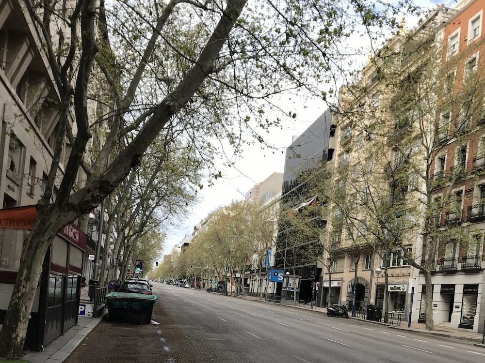 Madrid residents are not allowed outside except to go to grocery stores, pharmacies or work in limited cases.