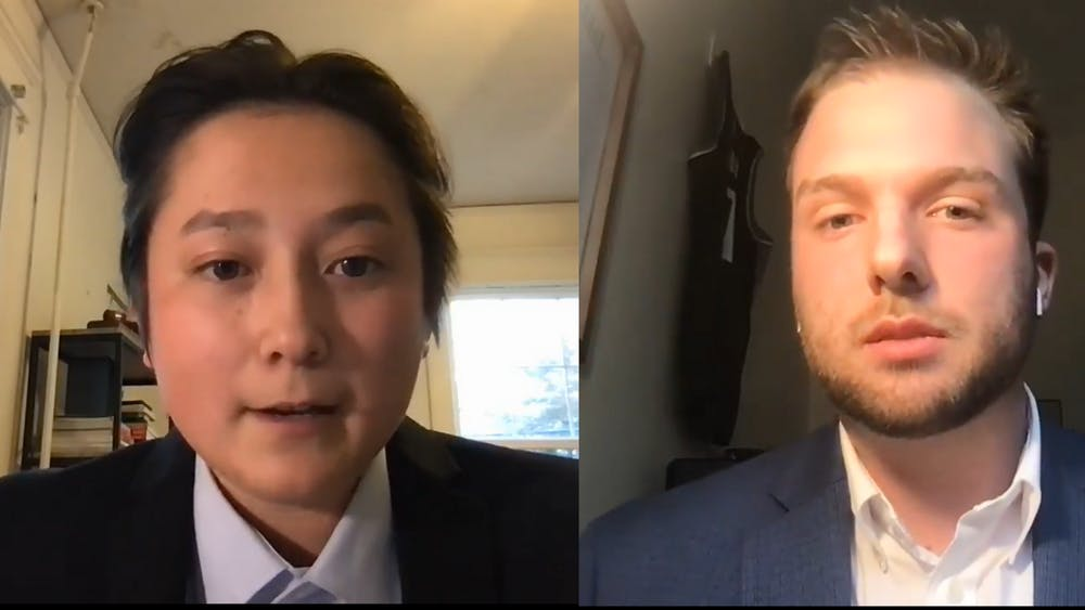 Third-year College students Abel Liu and Gavin Oxley discussed their platforms and fielded questions that were prepared by The Cavalier Daily and submitted by students in advance of the debate.