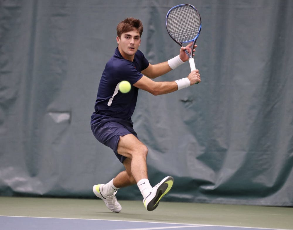 <p>Freshman Alexander Kiefer was a top 10 recruit for Virginia. Kiefer has continued to prove his value throughout the season, including today against Boston College when he won all of the matches he played.</p>