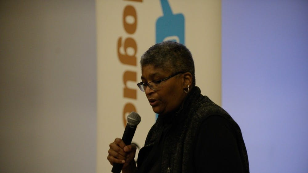 Charlene Green gave attendees directions on the charges of each work group.