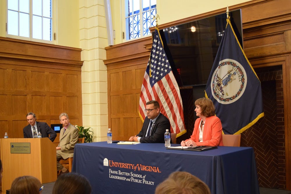 <p>Republican candidate&nbsp;Tom Garrett (left) and Democratic candidate&nbsp;Jane Dittmar (right) at a&nbsp;fifth district congressional debate &nbsp;at the Frank Batten School of Leadership and Public Policy on Sept. 28.&nbsp;</p>