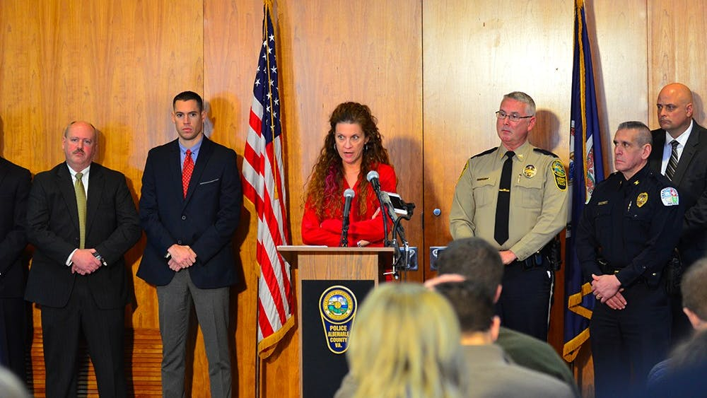Albemarle County Police Chief Steve Sellers and Albemarle County Commonwealth's Attorney Denies Lunsford gave a joint press conference to announce the close of the investigation into the Graham case and the charges broughtagainst Jesse Matthew.