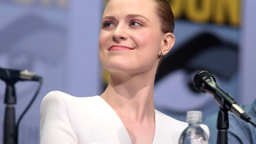 """Westworld"" star Evan Rachel-Wood appears at a Comic Con panel for the show in 2017."