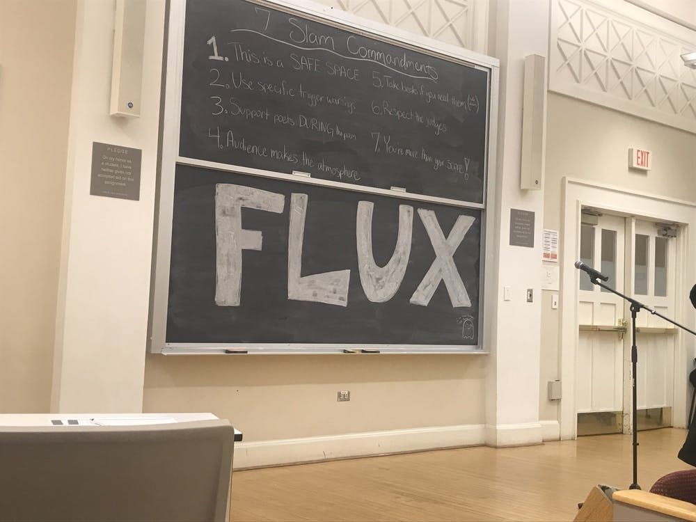 <p>Flux, the University's only slam poetry group, hosted a poetry slam Friday night in Minor Hall as one of three qualifiers to help determine which poets will represent the University at CUPSI.&nbsp;</p>