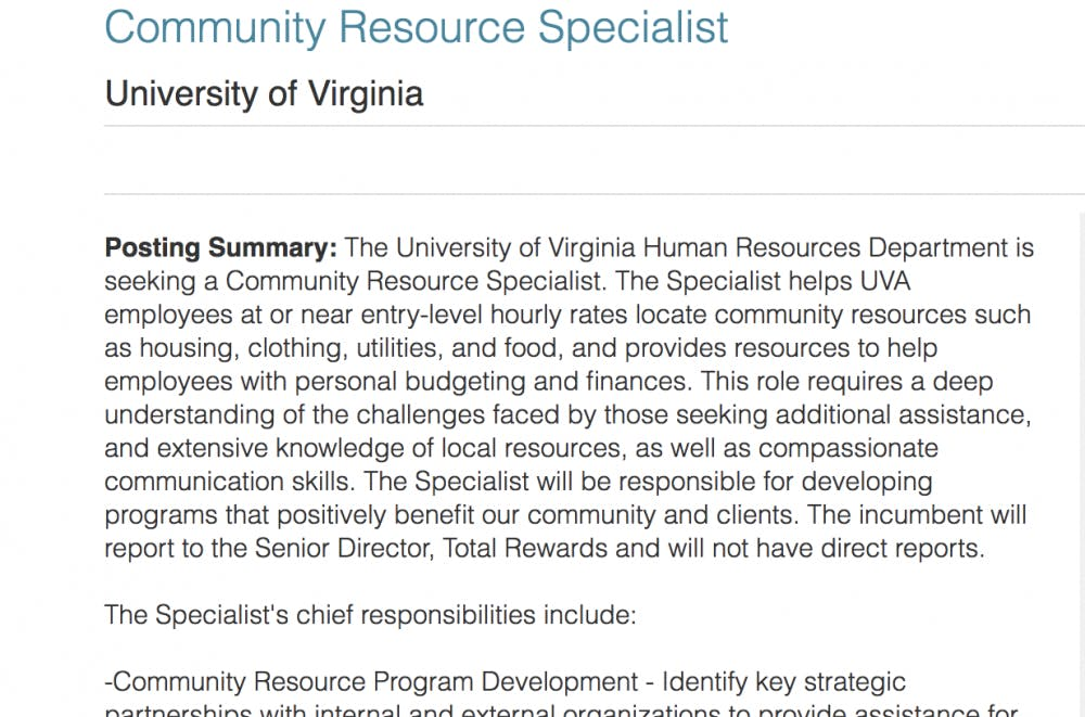 "The ""community resource specialist"" position was posted in mid-October."