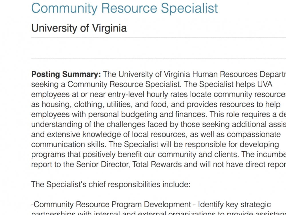"""The """"community resource specialist"""" position was posted in mid-October."""