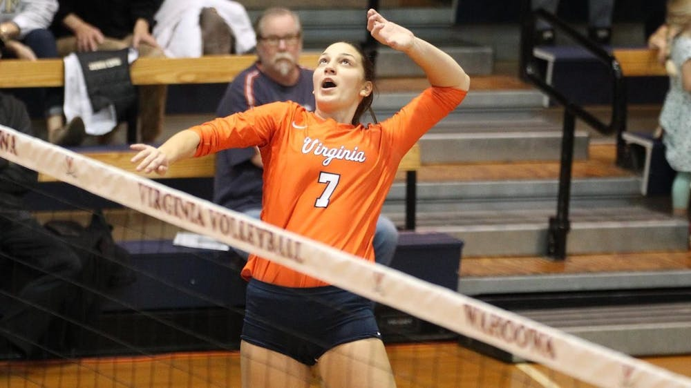 <p>Senior right-side hitter Jelena Novakovic had nine kills in her last match in a Virginia uniform.</p>