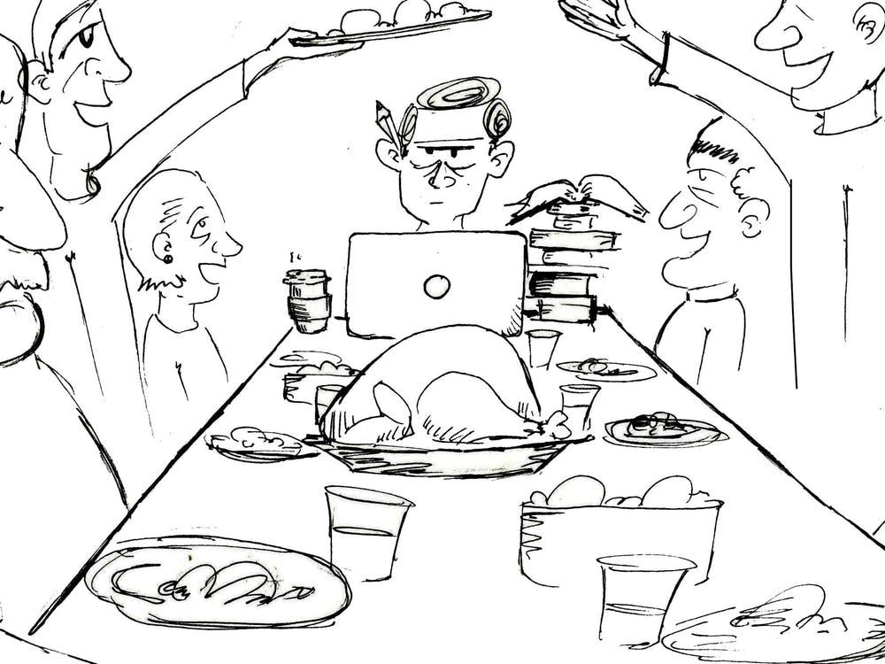"Everyone brought their laptops, textbooks and assignments home for break... but did anyone actually get work done? If you can relate to the ""pre-finals-Thanksgiving-break"" struggle, check out this cartoon by Walter Sharon published Dec. 2, 2019."