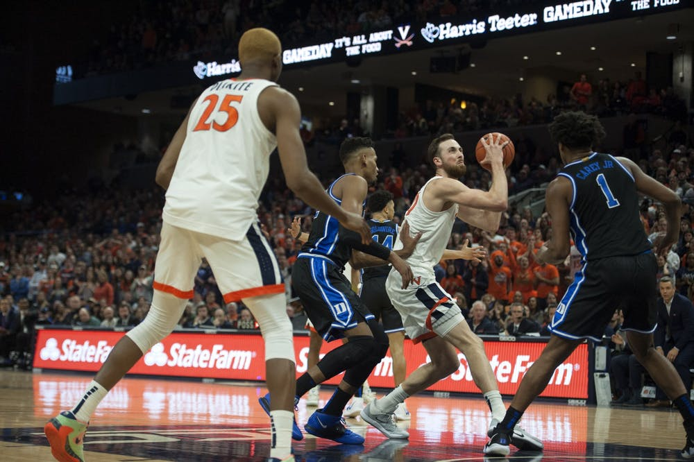 <p>Junior forward Jay Huff and senior forward Mamadi Diakite combined for 31 points for Virginia in a low-scoring affair against ACC foe Miami.</p>