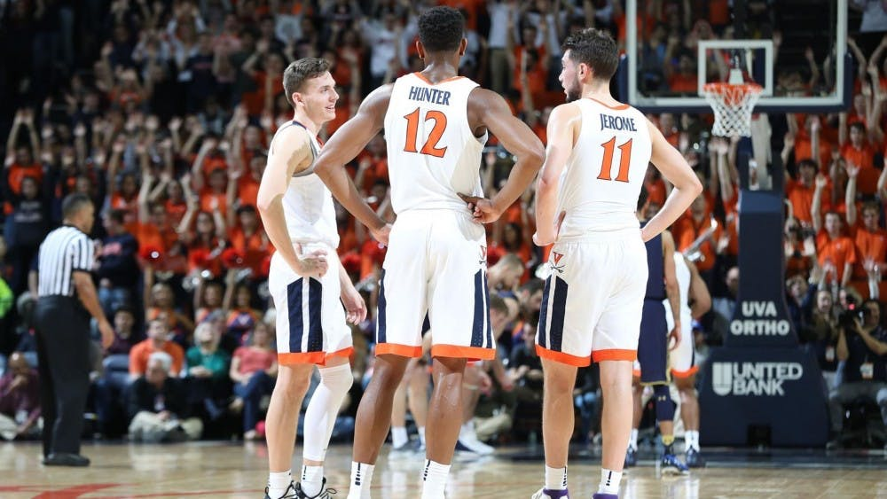 """Virginia's """"Big Three,"""" junior guards Ty Jerome and Kyle Guy and sophomore forward De'Andre Hunter, have paced the Cavaliers' explosive offense this season."""