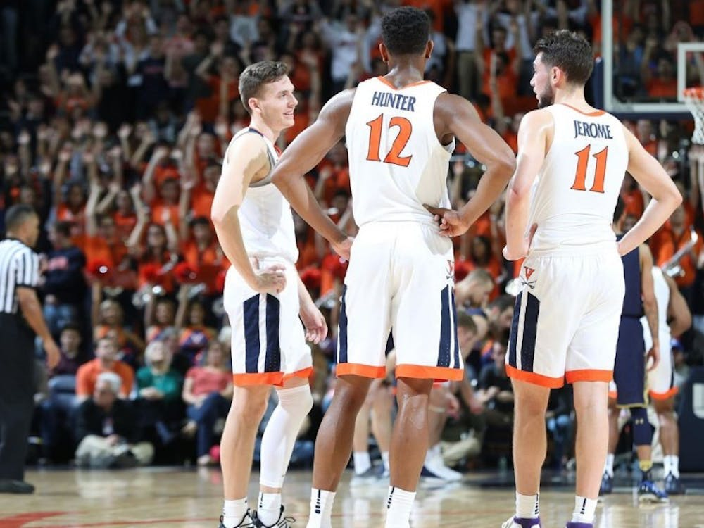 "Virginia's ""Big Three,"" junior guards Ty Jerome and Kyle Guy and sophomore forward De'Andre Hunter, have paced the Cavaliers' explosive offense this season."