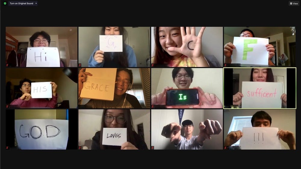 GCF's Praise Team pose for a Zoom screenshot with an encouraging message shared with the rest of the fellowship over social media.