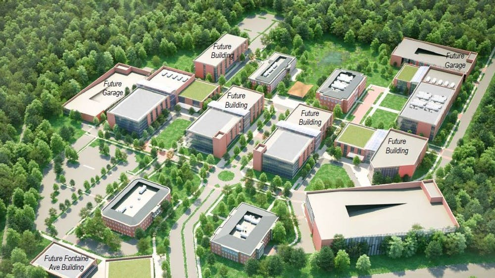 The long-term plans for the University's Fontaine Research Park include the construction of parking garages, new clinical and research facilities as well as a centralized main street through the property.