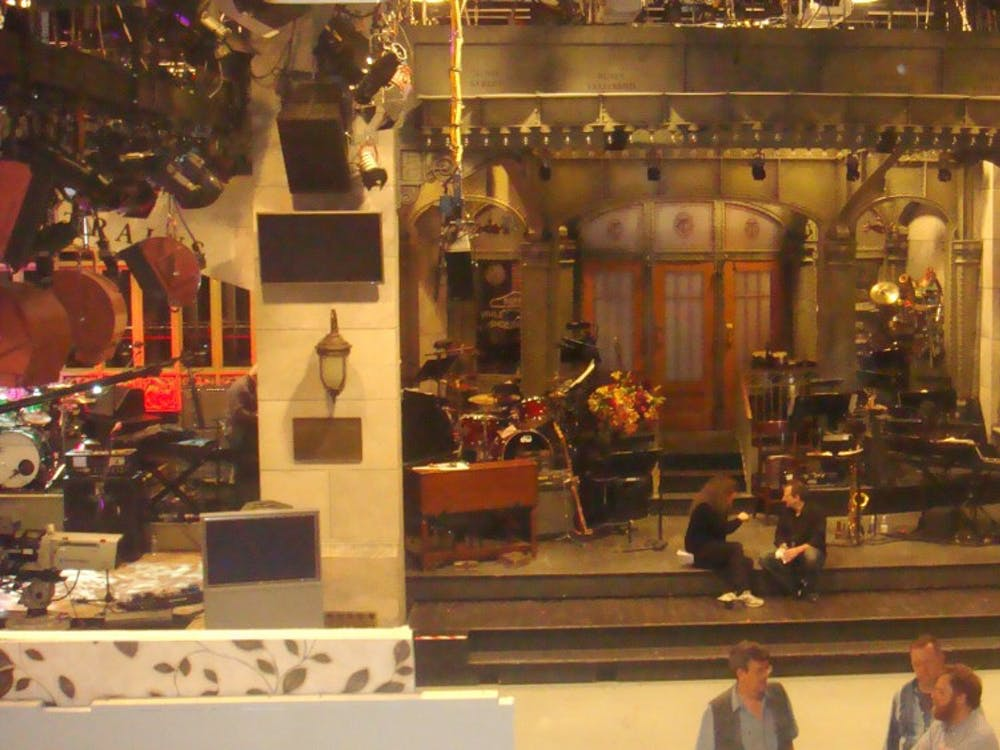 "The iconic set of ""Saturday Night Live,"" which just premiered its 45th season/"