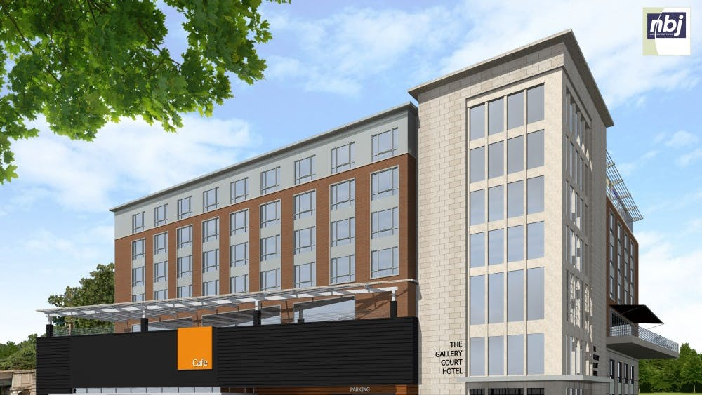 The six-story Gallery Court Hotel will sit next to Lambeth Field Apartments and Carr's Hill Field.