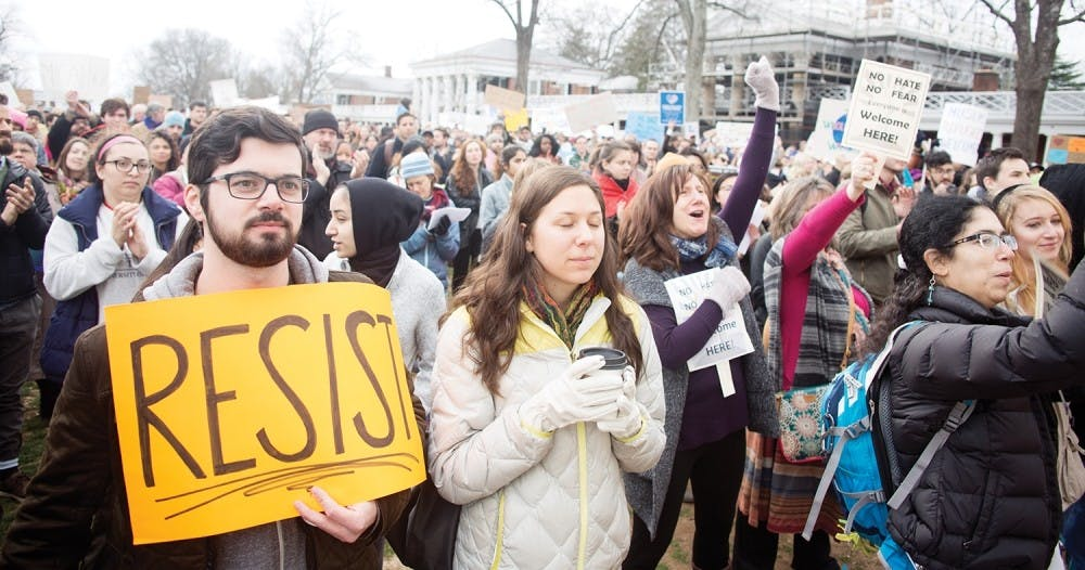 <p>The Lawn was filled with students and community members at the March for Muslim, Immigrant and International Students' Rights on Jan. 29.&nbsp;</p>