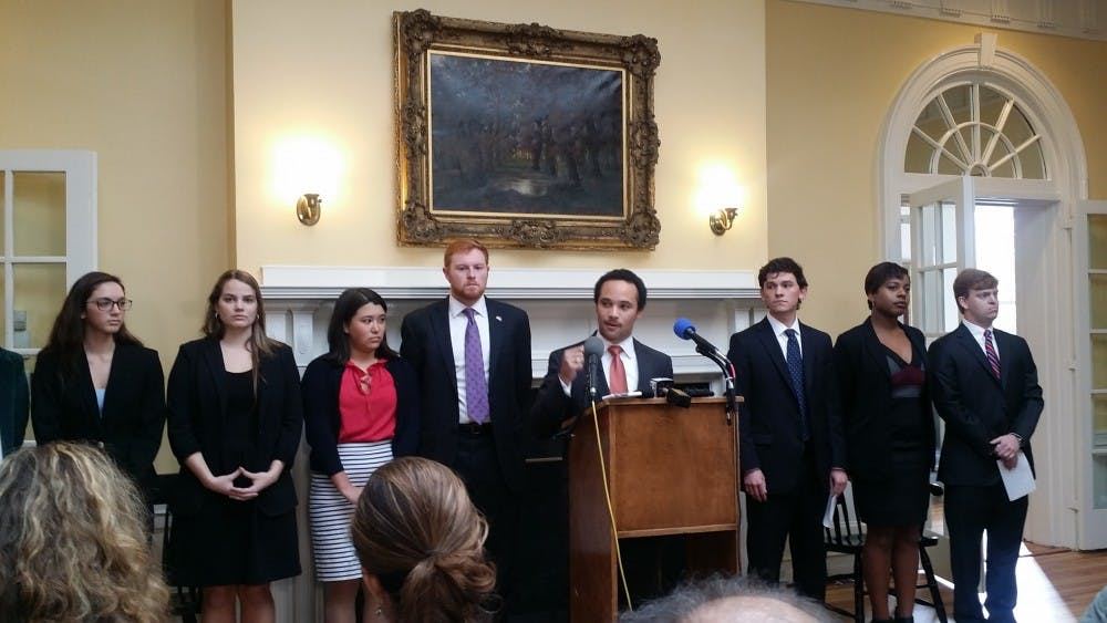 <p>Student leaders addressed the press this morning at a press conference to discuss advocacy efforts andunite student voice.</p>