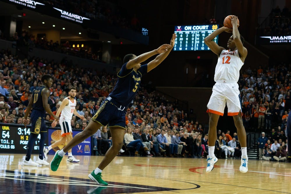 <p>Sophomore guard De'Andre Hunter had his second double-double of the season against Notre Dame.</p>