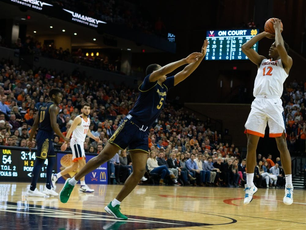 Sophomore guard De'Andre Hunter had his second double-double of the season against Notre Dame.