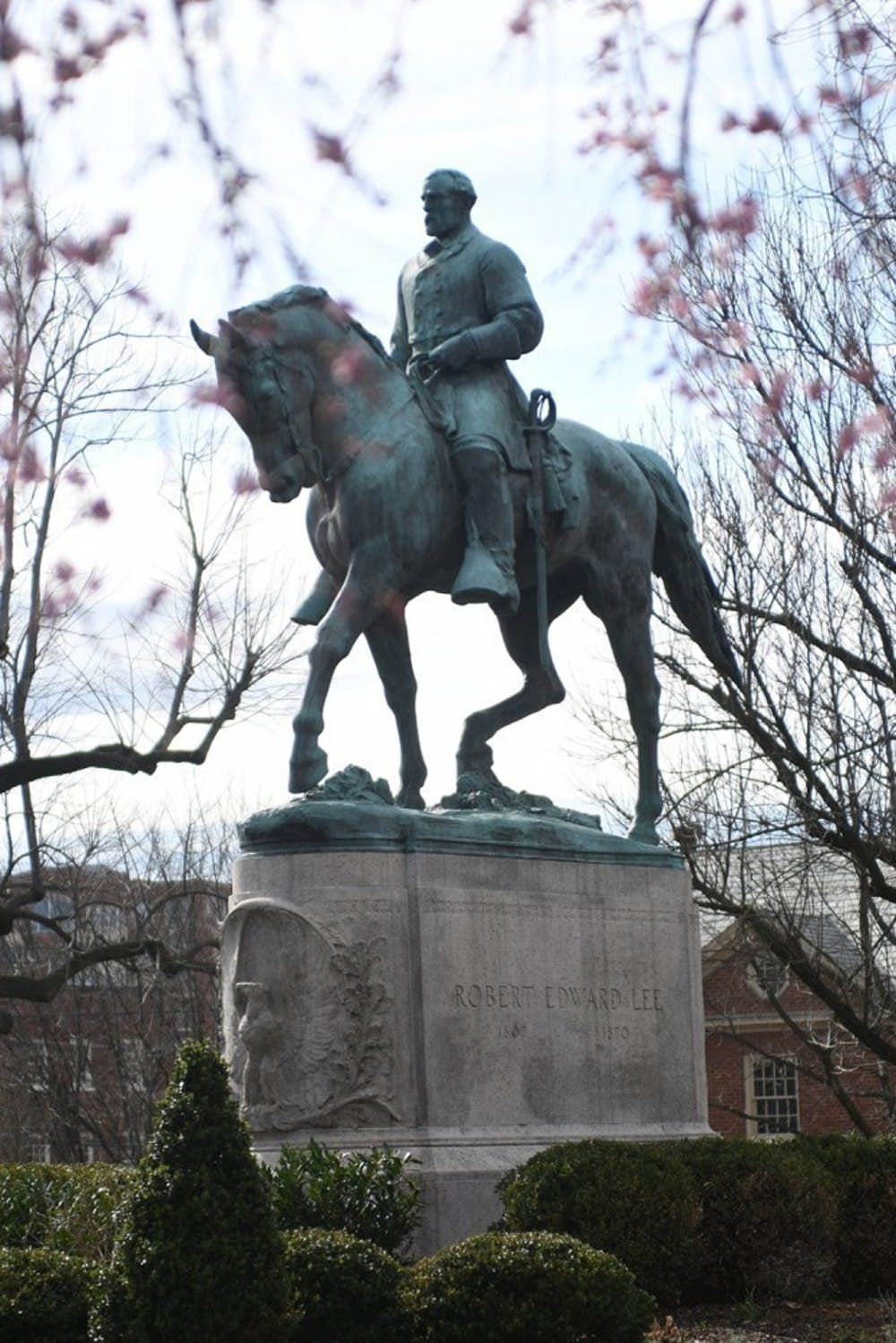 <p>The statue of Confederate General Robert E. Lee in downtown Charlottesville was the center of the violence that erupted in August 2017.</p>