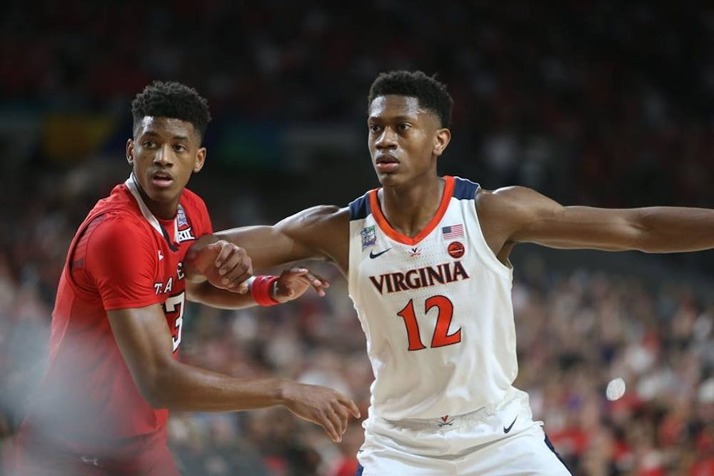 <p>Texas Tech guard Jarrett Culver, who was drafted sixth, guards De'Andre Hunter in the national championship game.</p>