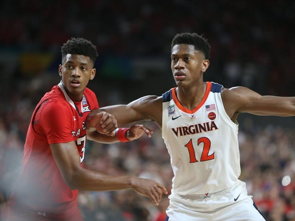 Texas Tech guard Jarrett Culver, who was drafted sixth, guards De'Andre Hunter in the national championship game.