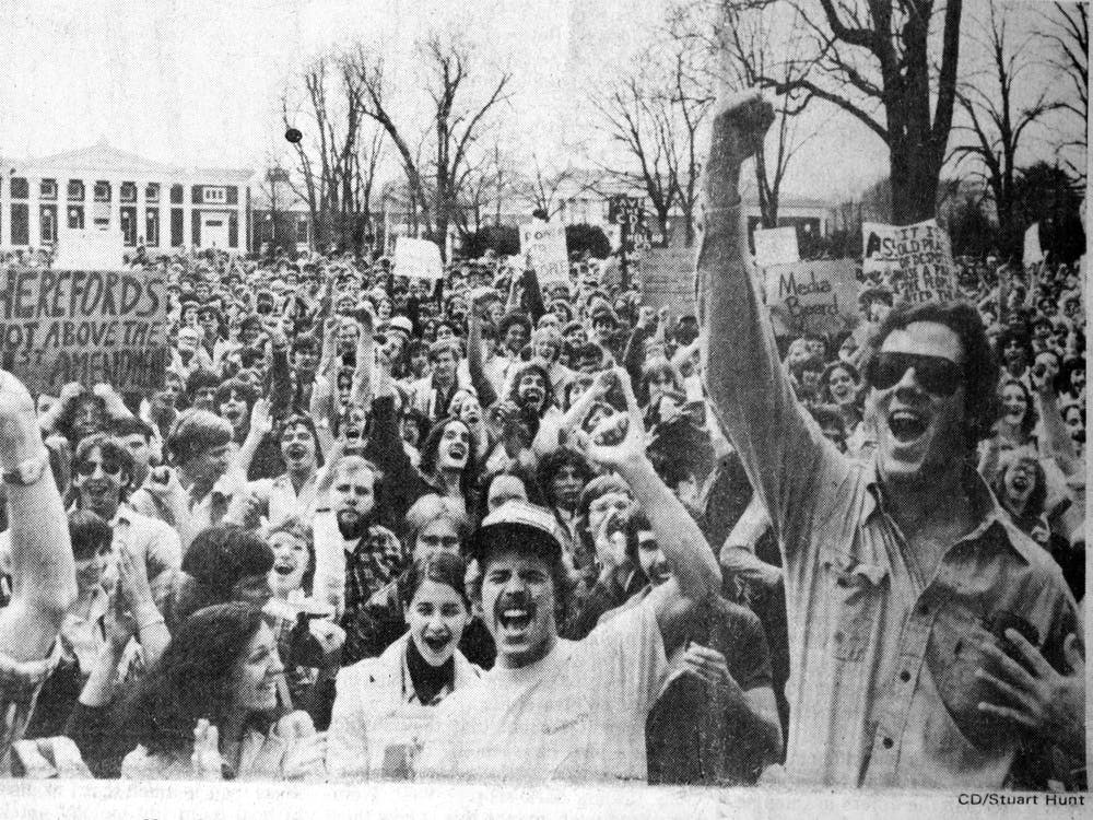 A crowd of 1,500 students gathered on the Lawn in 1979, protesting the University's attempt to establish authority over The Cavalier Daily.