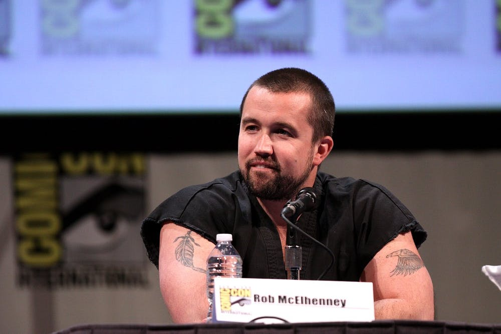 "<p>""Mythic Quest"" star and producer Rob McElhenney speaking at a Comic Con panel.</p>"