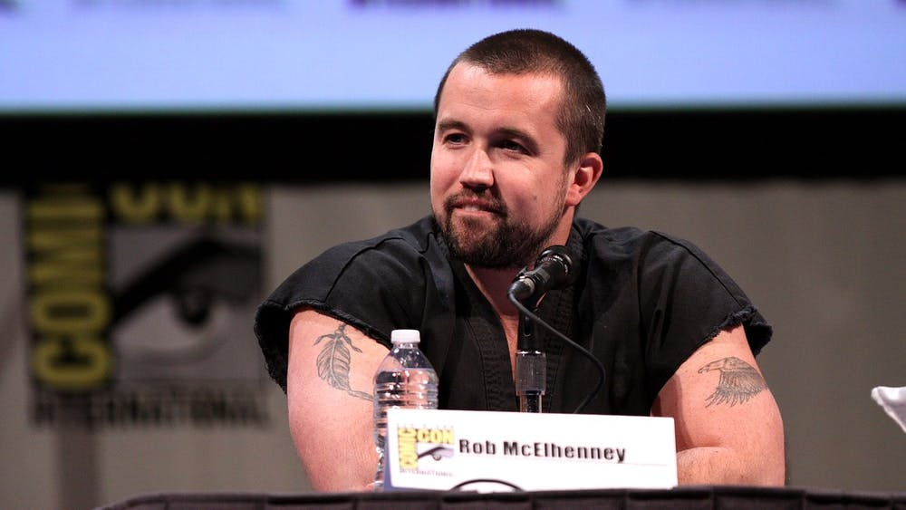 """""""Mythic Quest"""" star and producer Rob McElhenney speaking at a Comic Con panel."""